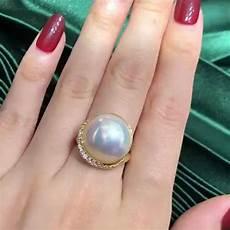 annycase 在 instagram 上发布 16 17mm white pearl designer ring top lusture 18k gold diamond