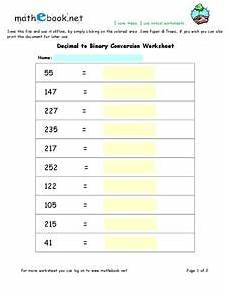 decimal equivalent worksheets 7115 decimal to binary conversion worksheet for 8th 10th grade lesson planet