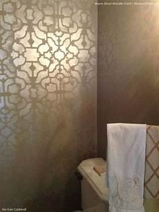 allover stenciling with modern masters metallic paint modern masters warm silver metallic