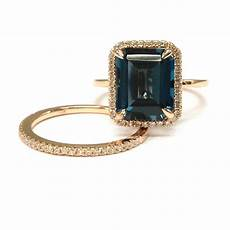 topaz wedding ring sets 8x10mm london blue diamond engagement ring 14k rose gold ebay