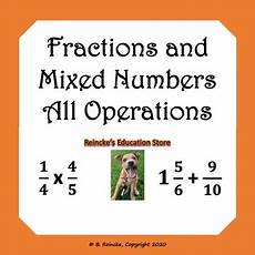 fractions and mixed numbers all operations word problems 2 worksheets