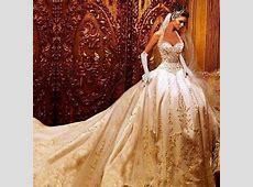 2019 Luxury Embroidery Gold Wedding Dress Beading Bridal