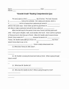 quot seventh grade quot reading comprehension quiz plus answers by teacher tricks