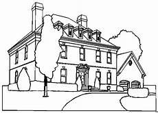 Gratis Malvorlagen Haus Zweistoeckiges Haus Mit Baeumen Ausmalbild Malvorlage
