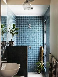 mixed pacific blue glimmer glass tile in 2019 bathroom