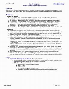 quality asurance trainer resume