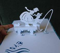 fishing pop up card template from quot cahier de kirigami no