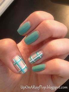 jessica is thinking about easy teal plaid nail design