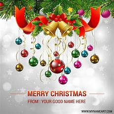 christmas ornaments pics edit online and write your name wishes greeting card