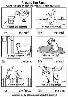 here s a page for students to practice positional terms around the farm positional words