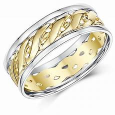 7mm 9ct two colour yellow white gold celtic wedding ring band celtic rings at elma uk jewellery
