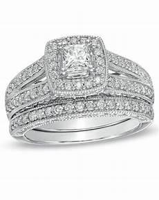 zales 1 1 4 ct t w princess cut diamond frame bridal