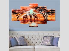 HD Printed 5 piece canvas art The African elephants