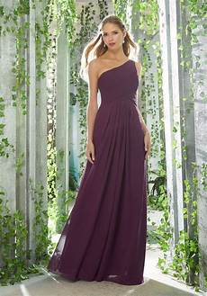 one shoulder chiffon bridesmaid dress with draped bodice