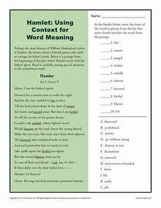 hamlet using context for word meaning context clues worksheets reading comprehension