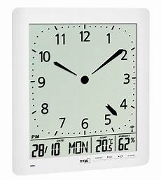 radio controlled wall clock with room climate tfa dostmann