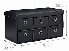 banquette banc coffre de rangement avc tiroirs 76 cm noir