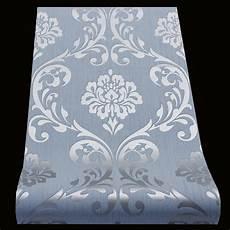 tapeten blau vliestapete barock tapete ornament blau glanz 13110 80