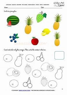 fruits worksheet 33 circle two pineapples