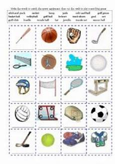 sports equipment and actions write and cut out cards 2