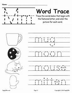 worksheets about letter m 24286 letter m words free alphabet tracing worksheet supplyme