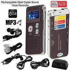 8gb Rechargeable Digital Sound Voice Recorder Mp3 Player