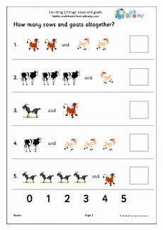 counting two sets cows and goats counting maths worksheets for later reception age 4 5
