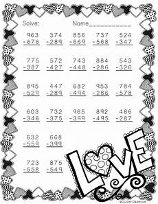 s day math worksheets 20576 free 3 nbt 2 s day themed 3 digit subtraction with regrouping math subtraction math