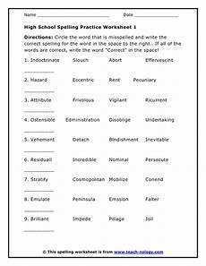 printable high school worksheets high school spelling practice worksheet 1 school