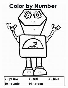 create color by number worksheets 16101 color by number robots addition subtraction kerridwens pdf drive coloring pages for