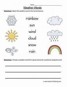 weather words worksheets 14703 weather words worksheet 1 matching teaching