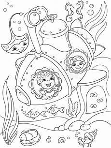 children exploring the underwater world in a submarine