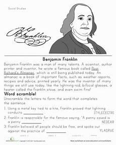 historical heroes benjamin franklin worksheet