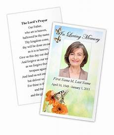 free template funeral cards beautiful butterfly memorial prayer card template