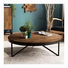 Table Basse Ronde Au Design Industriel En Teck