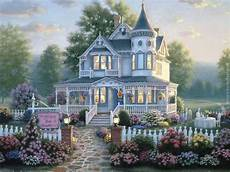 thomas kinkade house plans quot country inn quot cottage wallpaper victorian homes