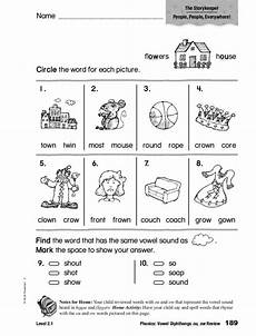 phonics vowel diphthongs ou ow review worksheet for 1st 2nd grade lesson planet