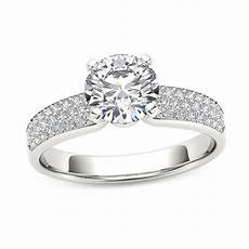 1 1 4 ct t w diamond triple row engagement ring in 14k