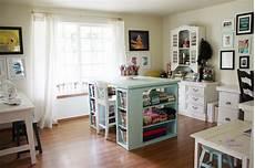 arts and crafts room ribbon rack shelf desk