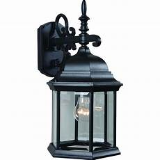 volume lighting 1 light black outdoor wall sconce v8120 5 the home depot