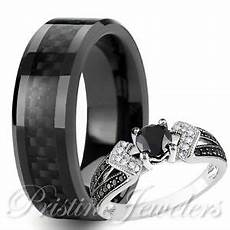 his tungsten black carbon fiber her 925 sterling silver