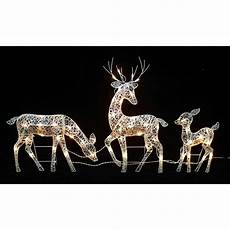 Reindeer Decorations Outdoor by 30 In Glittered Doe Fawn With Reindeer Lighted