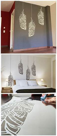 Home Decor Wall Painting Ideas by Forest Feathers Wall Stencil Decorative Scandinavian