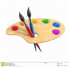 Wooden Palette With Paints And Brushes Stock