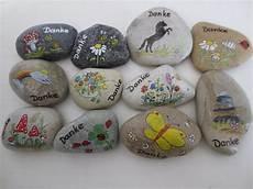 2 Handbemalte Steine 5 6 Cm Danke Steine Namenssteine Etsy