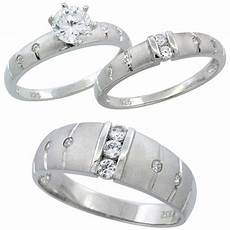 buy sterling silver cubic zirconia trio engagement wedding ring set for him and her 7 5 mm
