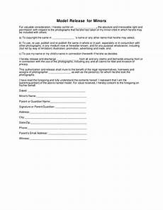generic photography model release form minor