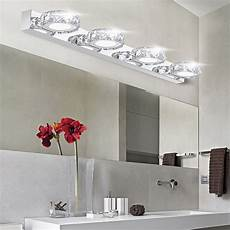 modern k9 led bathroom make up crystal mirror light round head stainless steel cabinet wall
