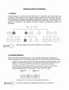 mendelian genetics worksheet mendelian genetics worksheet 1 pedigrees a