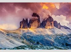 Majestic foggy view of the National Park Tre Cime di